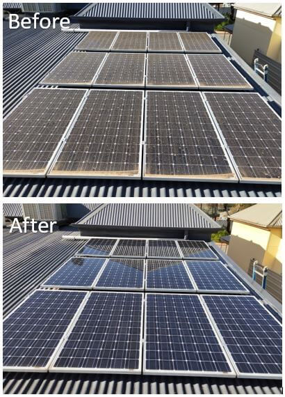 Before-After Solar Panels cleaned